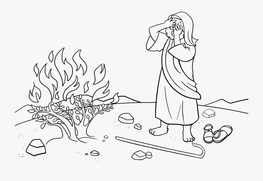 Moses And The Burning Bush Coloring Page - Burning Bush Moses Coloring Page, Transparent Clipart