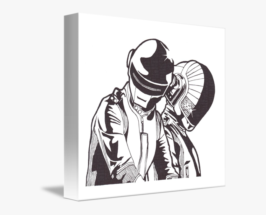 Daft Punk Clipart Drawing - Daft Punk Black And White Colorear, Transparent Clipart