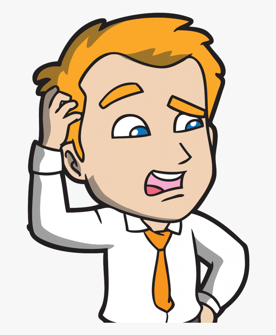 Transparent Confused Face Png - Cartoon Man Scratching His Head, Transparent Clipart