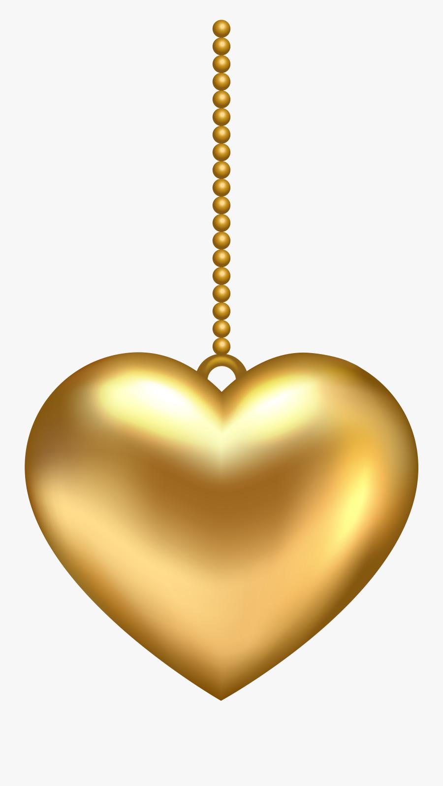 Transparent Gold Rose Png - Golden Heart Transparent Background, Transparent Clipart