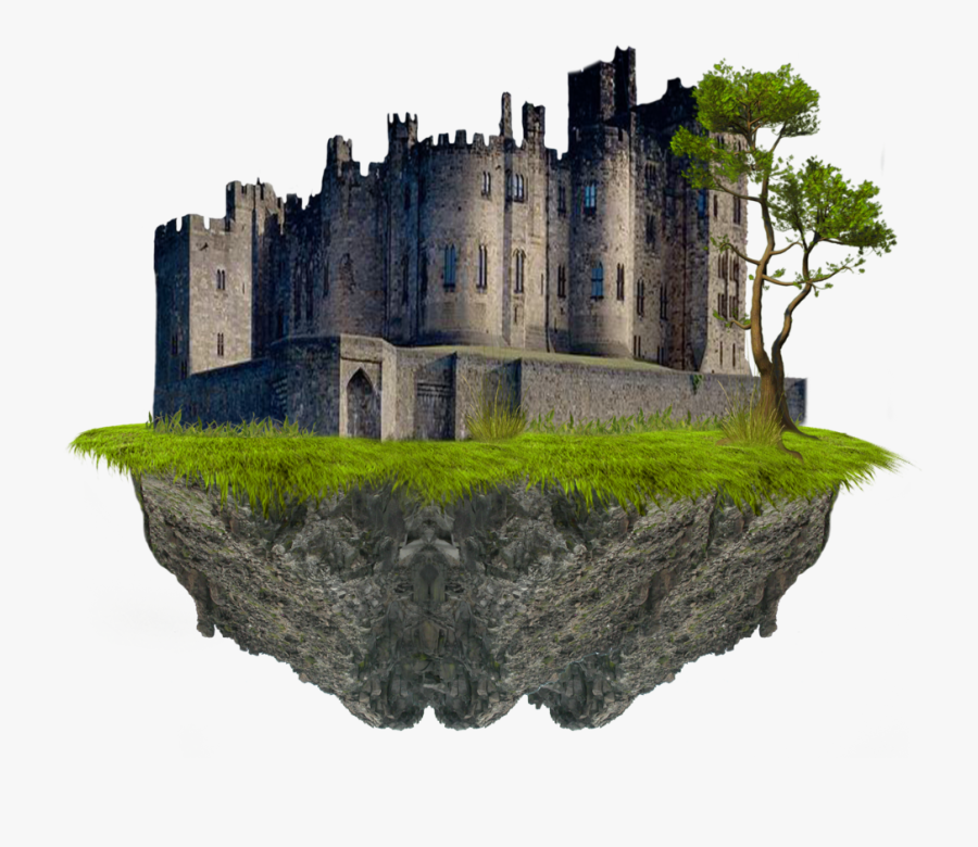 Floating Island With Castle, Transparent Clipart