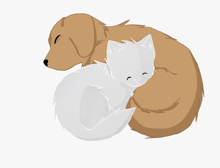 Anima Drawing Sleeping - Anime Dog And Cat, Transparent Clipart