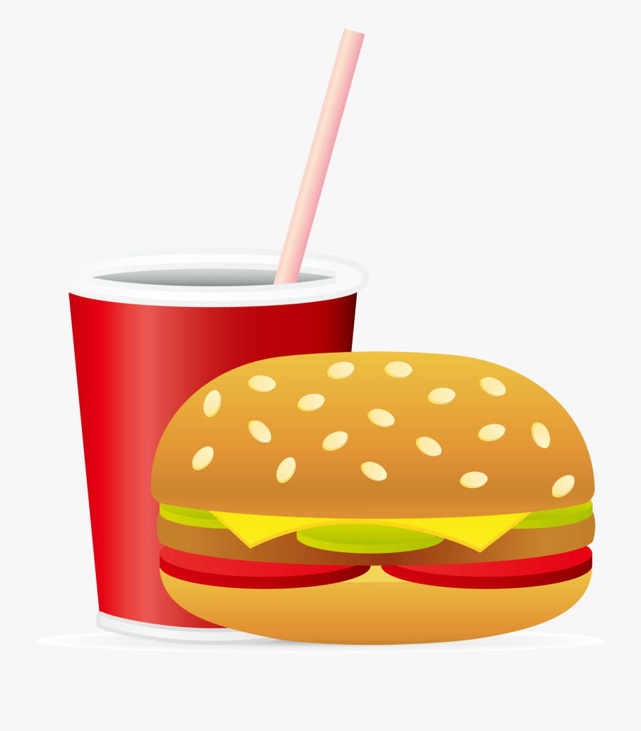 Soft Drink Hamburger Fast Food Junk Food French Fries - Cartoon Food And Drink, Transparent Clipart
