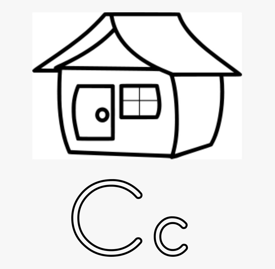 Letra C De Casa - Letter House Coloring Page, Transparent Clipart