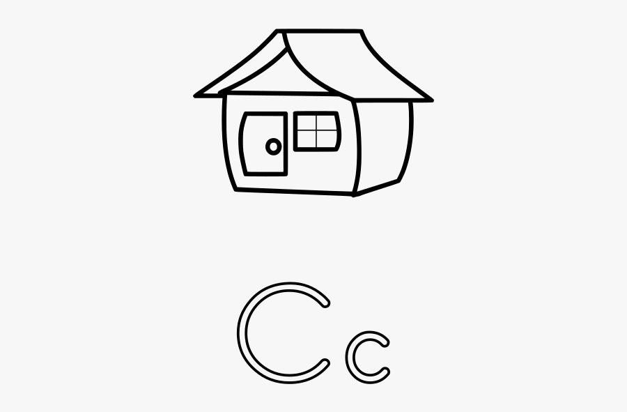 Letter House Coloring Page, Transparent Clipart