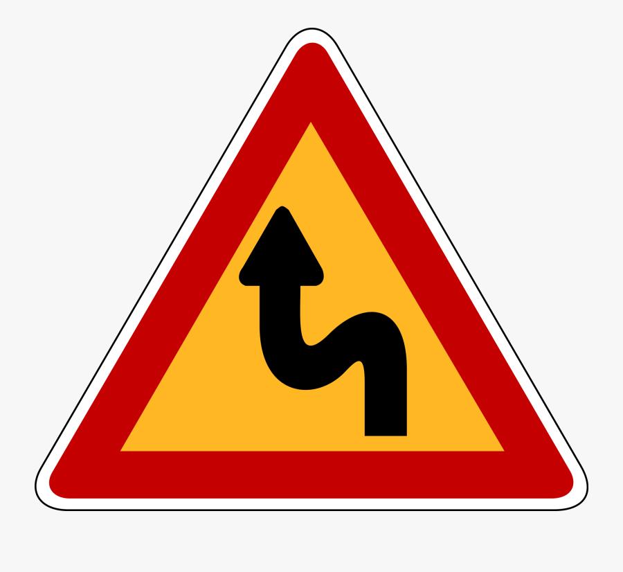 Road Svg Curving - Double Dangerous Left Curve Ahead, Transparent Clipart