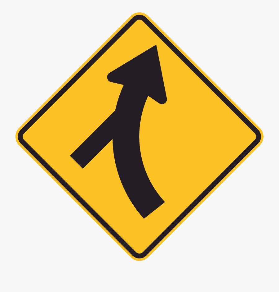 Mr Wdi 8r Curved Major Road Ahead Skewed Minor Side - Pedestrian Crossing Sign Clip Art, Transparent Clipart