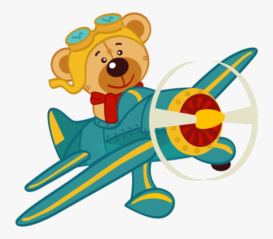 Oso En Avion Clipart , Png Download - Bear In Airplane Cartoon, Transparent Clipart