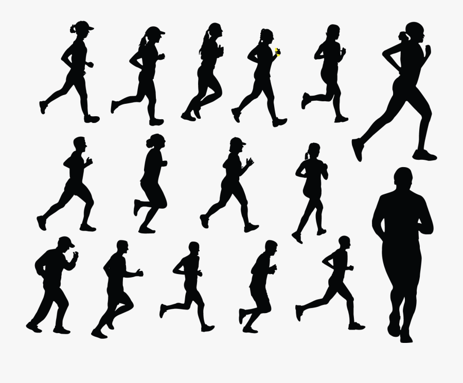 Silhouette Royalty-free Running Illustration - People Sport Png Black, Transparent Clipart