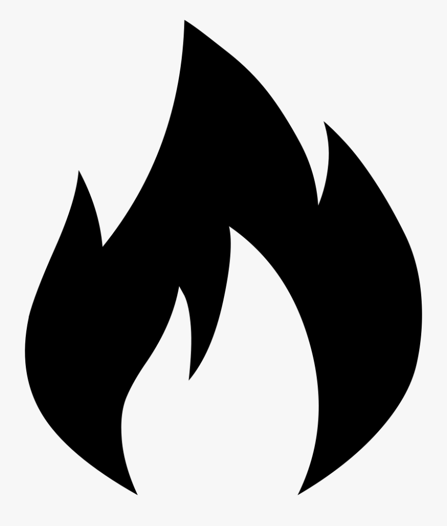 Png Icon Free Download - Fire Emoji Black And White, Transparent Clipart