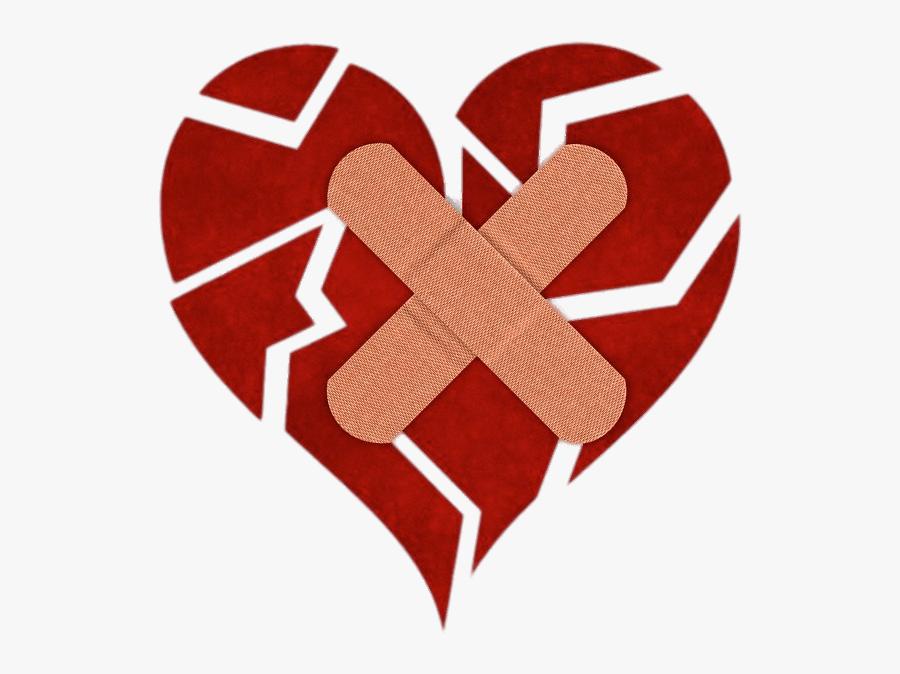 Fragmented Heart With Bandaids - Broken Heart, Transparent Clipart