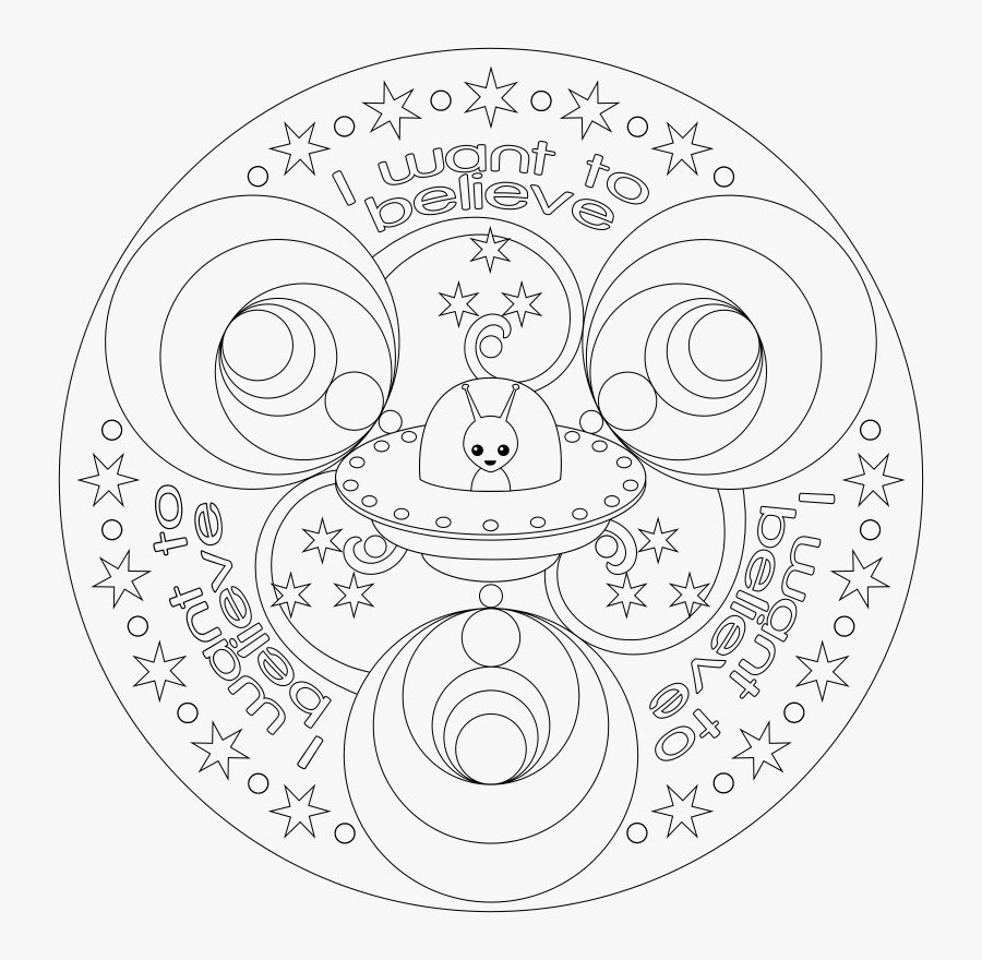 Transparent Mandala Clipart Black And White - Alien Coloring Pages For Adults, Transparent Clipart