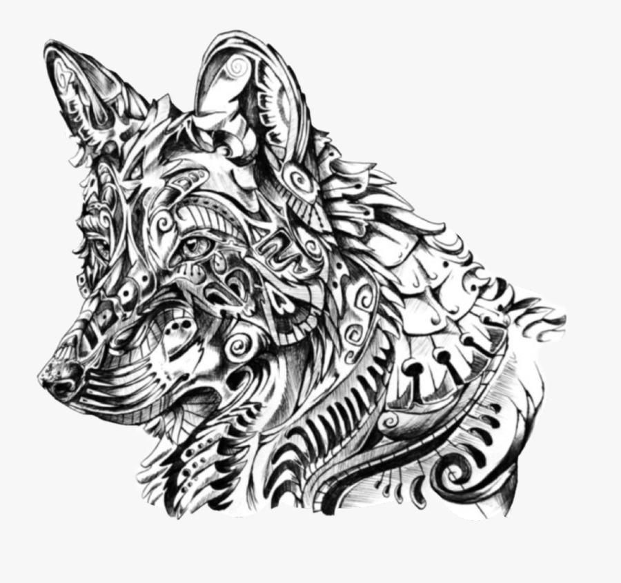 #mandala #pattern #wolf #bw #freetoedit - Intricate Wolf Colouring Pages, Transparent Clipart