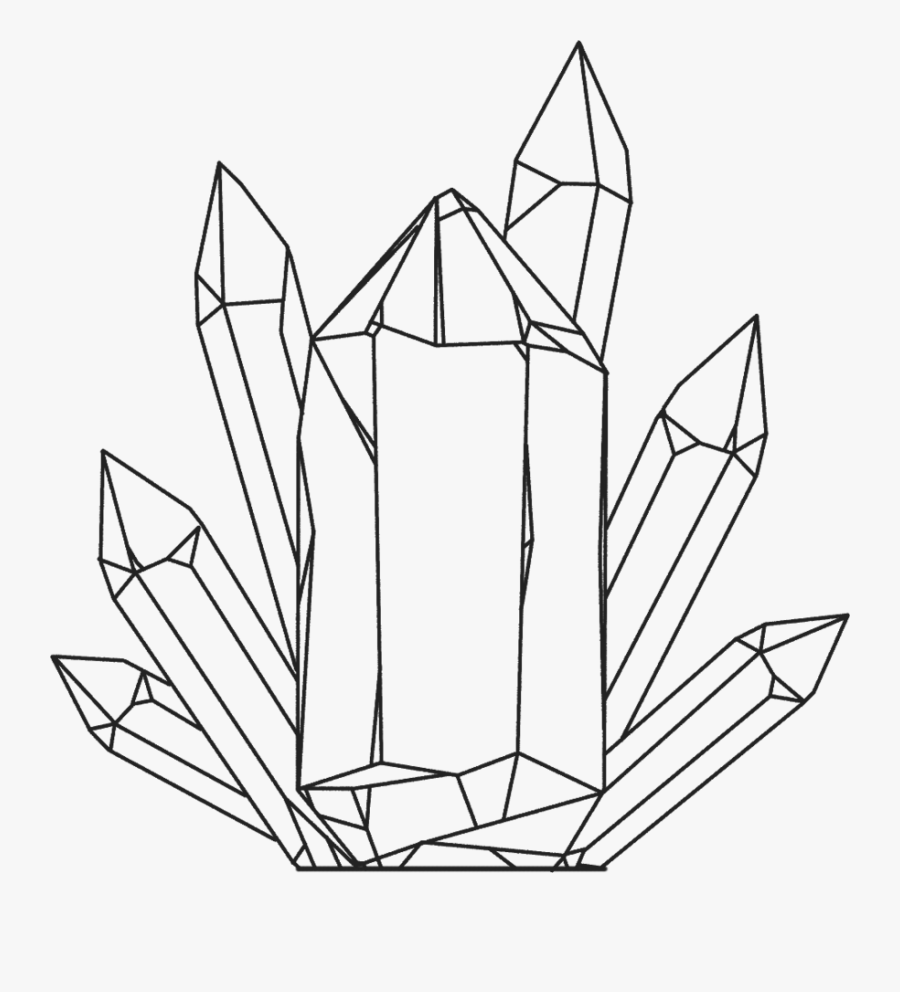 Clip Art Crystals Drawing - Crystal Line Art Transparent, Transparent Clipart