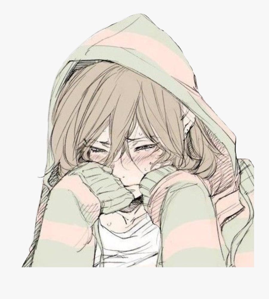 #cry #crying #girl #anime #animegirl #depression #depressed - Depressed Anime Girl Crying, Transparent Clipart