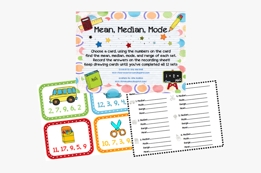 Mean, Median, Mode School Cards - Instructional Materials For Mean Median And Mode, Transparent Clipart