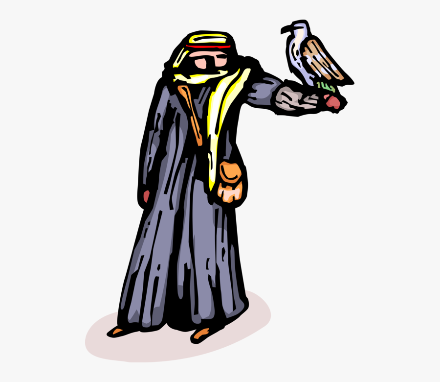 Vector Illustration Of Middle Eastern Arabian Man With - Man With A Falcon Clipart, Transparent Clipart