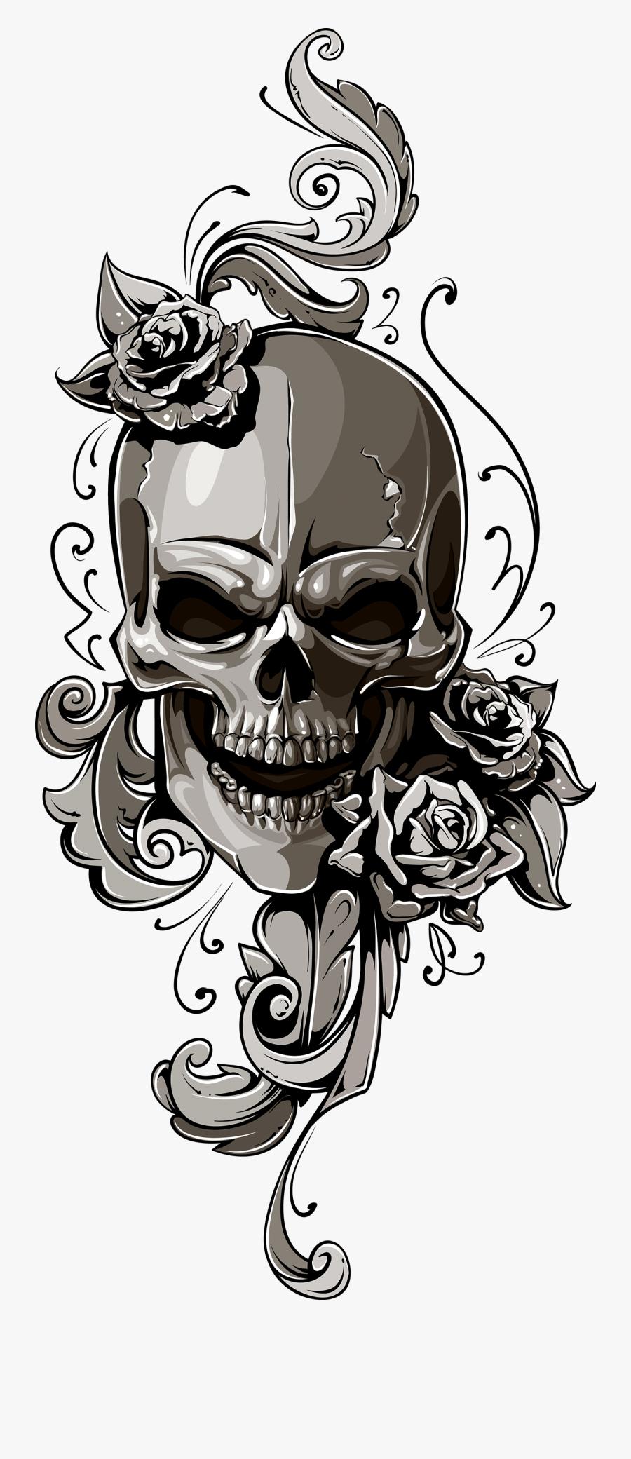 School Old Skull Human Symbolism Clipart - Tattoo Skull Old School, Transparent Clipart