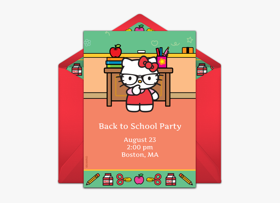 Invitations For Your Back - Back To School Theme Kitty Party Invitation, Transparent Clipart