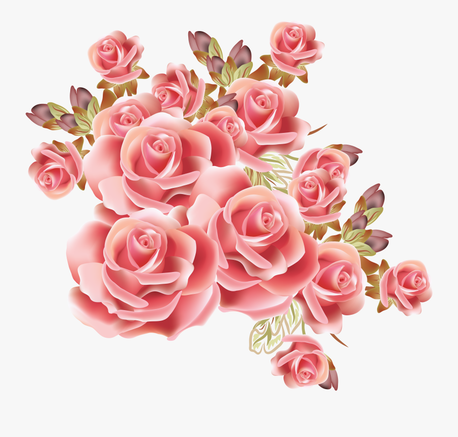 Bouquet Vector Draw Flower - Background Design Flowers Roses, Transparent Clipart