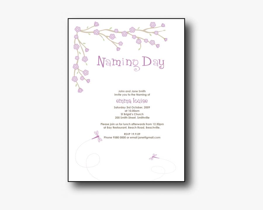 Baby Naming Invitation Wording Naming Day Invitations - Naming Day Invitation Wording, Transparent Clipart