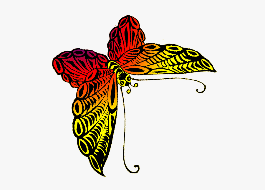 Orange Japanese Butterfly Drawing - Yellow Red And Orange Butterfly, Transparent Clipart
