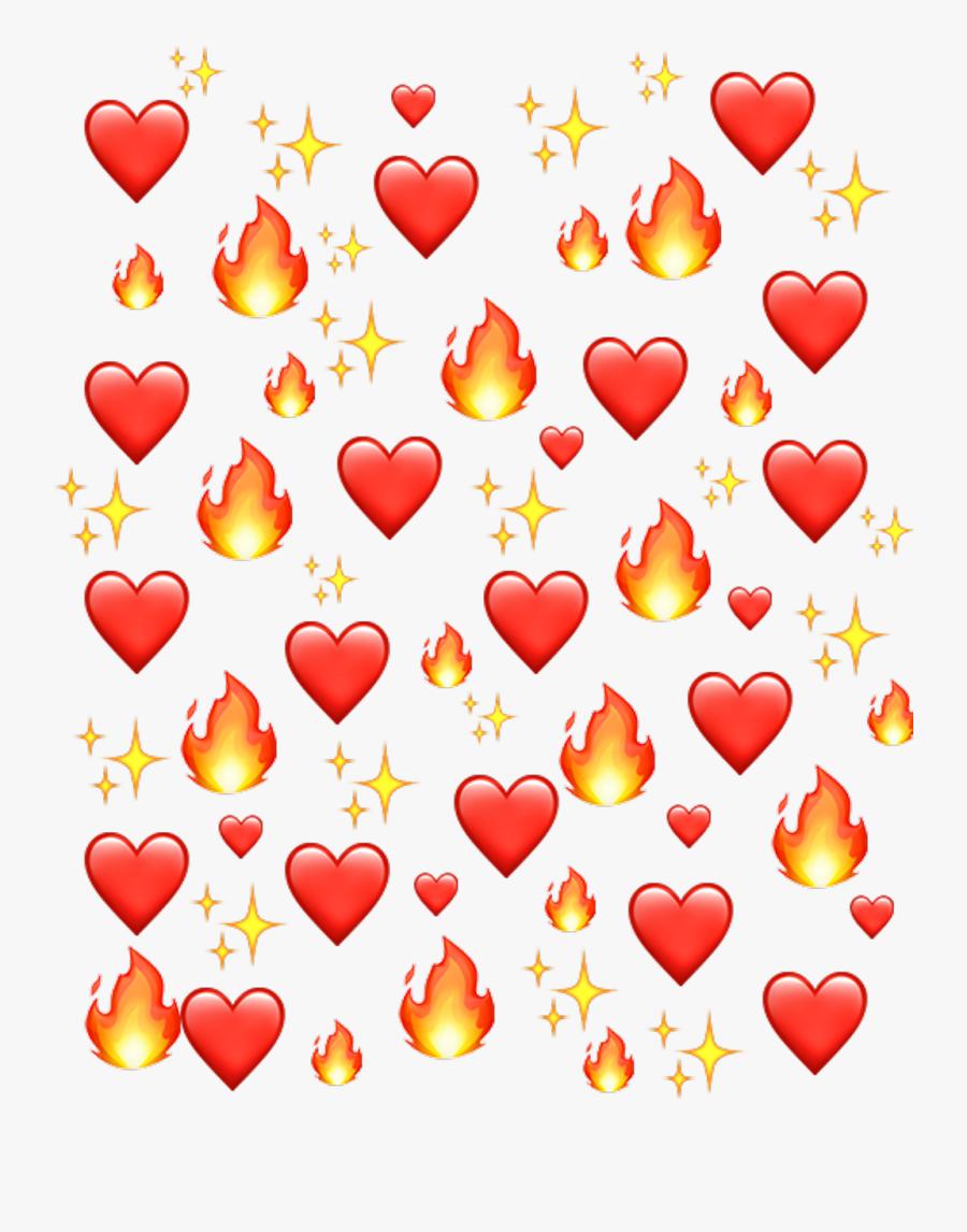 Emoji Fire Png - - Hearts Emoji Background Png, Transparent Clipart