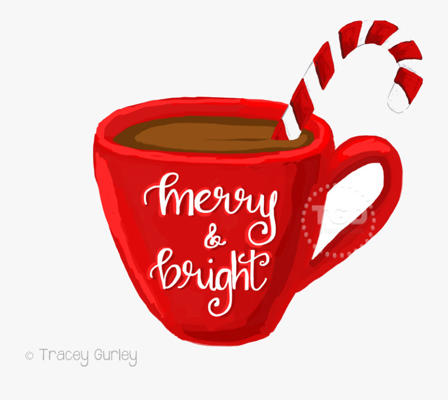 Hot Chocolate Merry And Bright Cocoa Coffee Cup Transparent - Christmas Hot Chocolate Clipart, Transparent Clipart