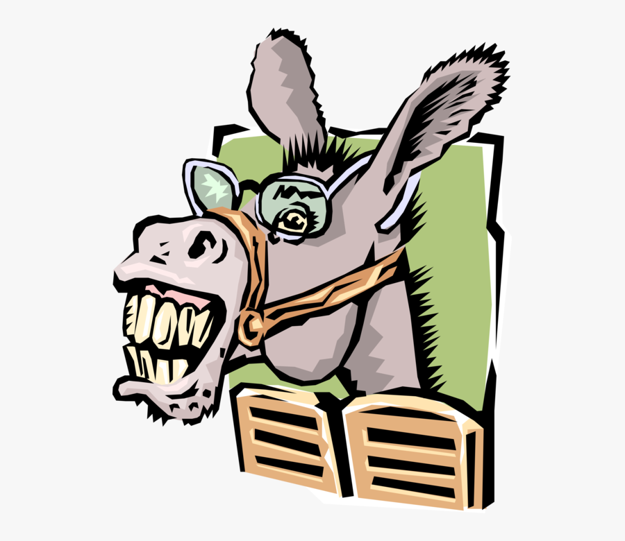 Vector Illustration Of Donkey Ass Horse With Eyeglasses - Cool Pics Of Donkeys, Transparent Clipart