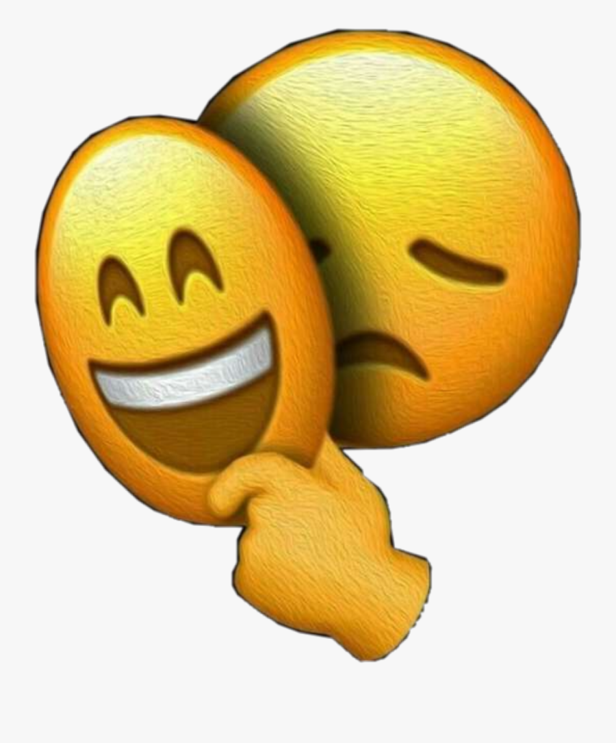#interesting #emoji #sad #happy #sadboihours #freetoedit - Inside Sad Outside Happy, Transparent Clipart