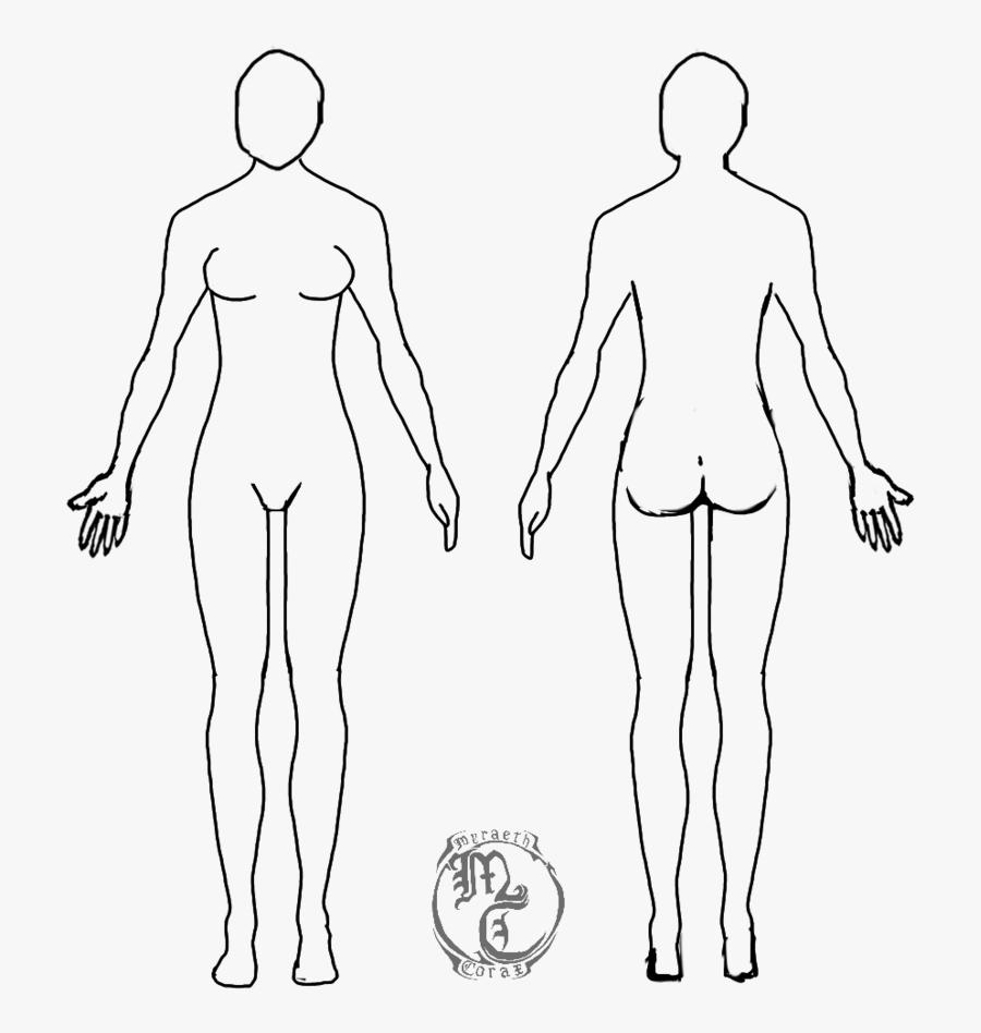 Clip Art Blank Body Outline - Blank Female Body Template, Transparent Clipart