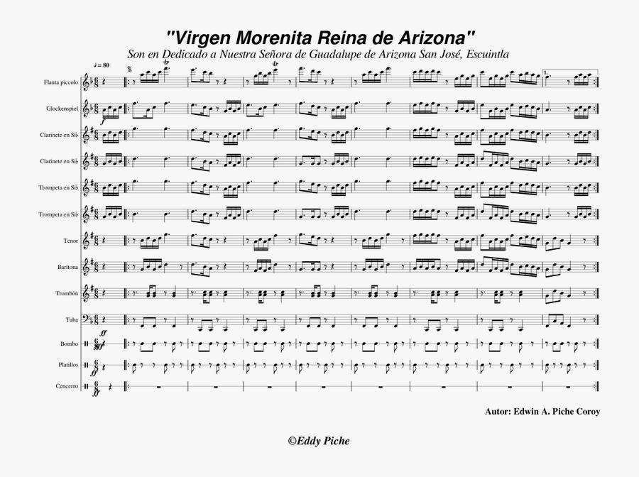 Transparent Virgen De Guadalupe Png - Vigen De Guadalupe Clarinet Music Sheets, Transparent Clipart