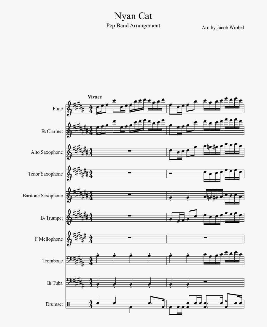 Nyan Cat Sheet Music Composed By Arr - Ievan Polka Violin Music Sheets, Transparent Clipart