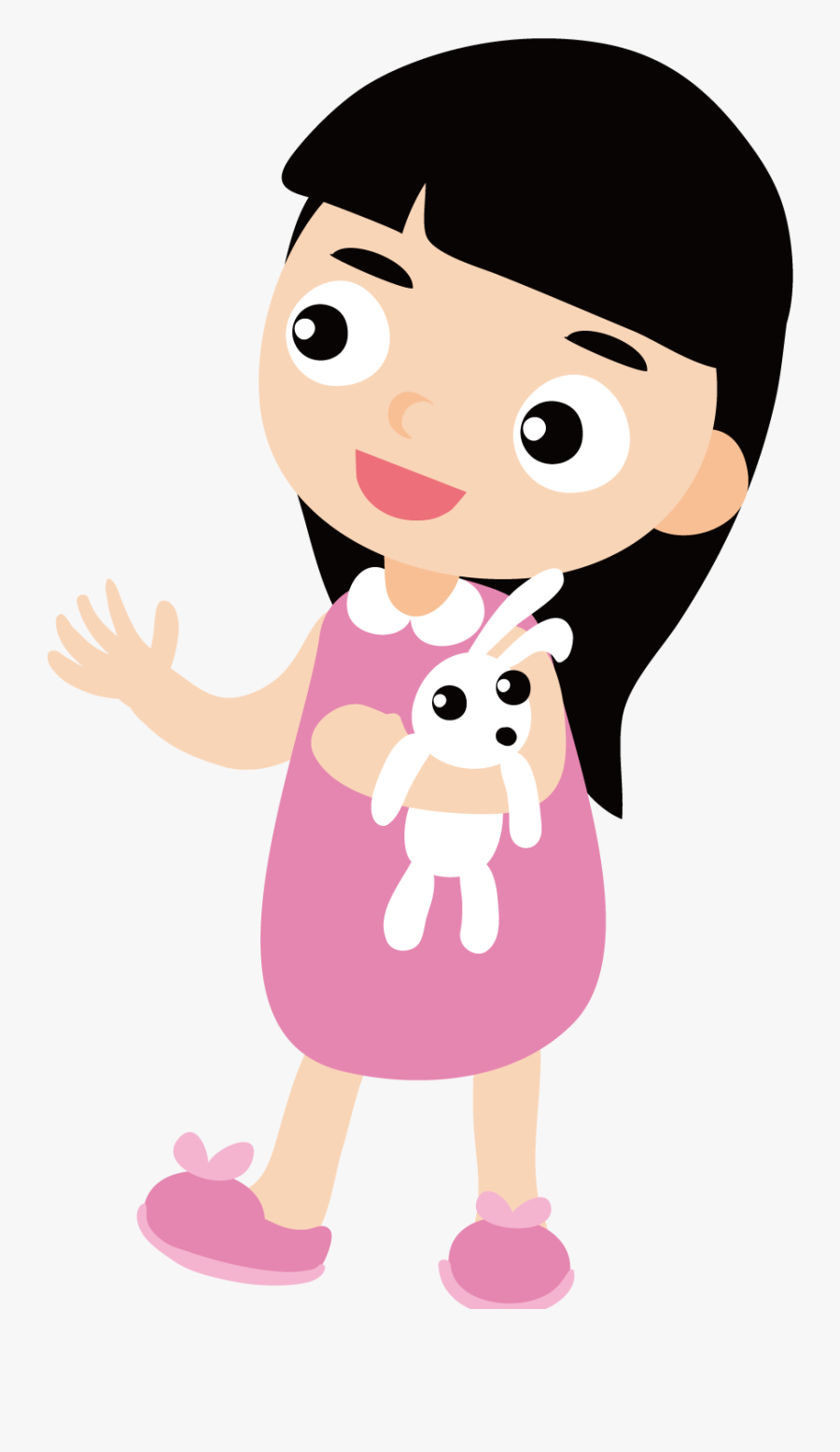 Clipart Bunny Baby Girl Cartoon Baby Girl Black Hair Free Transparent Clipart Clipartkey