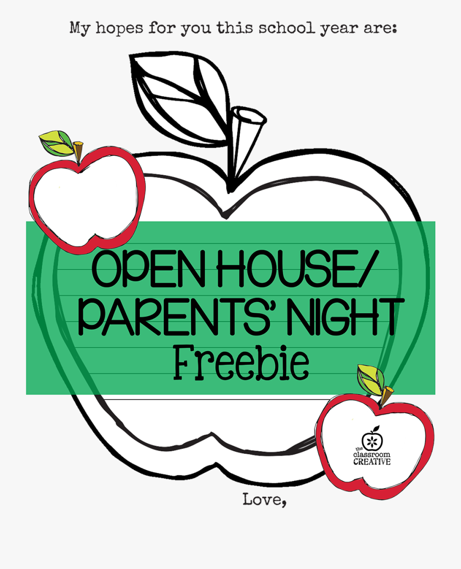 """Free Open House/ Parent""""s Night Printable {apple Themed} - School Open House Invitation Template Free, Transparent Clipart"""