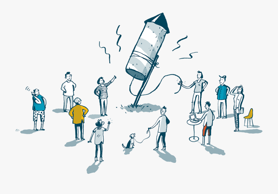 An Illustration Of People Gathered Around A Launching - Web Development Cartoons, Transparent Clipart