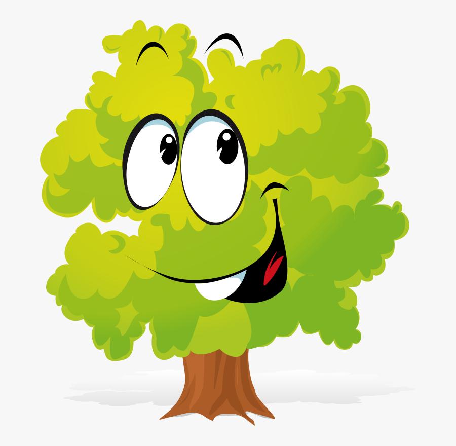 Happy Plant Clipart Png Freeuse - Tree Cartoon Transparent Png, Transparent Clipart