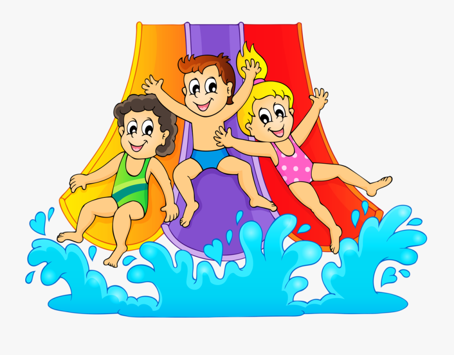 Transparent Clipart Of Children - Water Slide Birthday Party Blank Invitations, Transparent Clipart