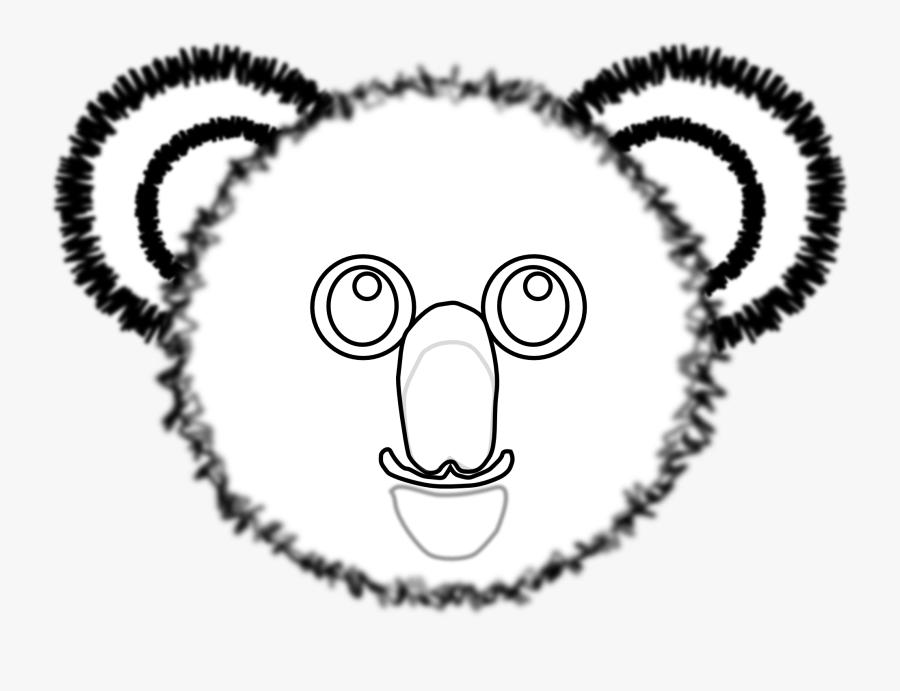 Koala - Clipart - Black - And - White - Koala Bear Face Colouring, Transparent Clipart
