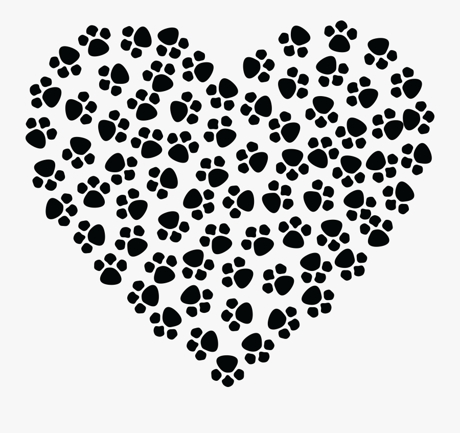 Free Clipart Of A Paw Print Heart - Paw Print Heart Clipart, Transparent Clipart