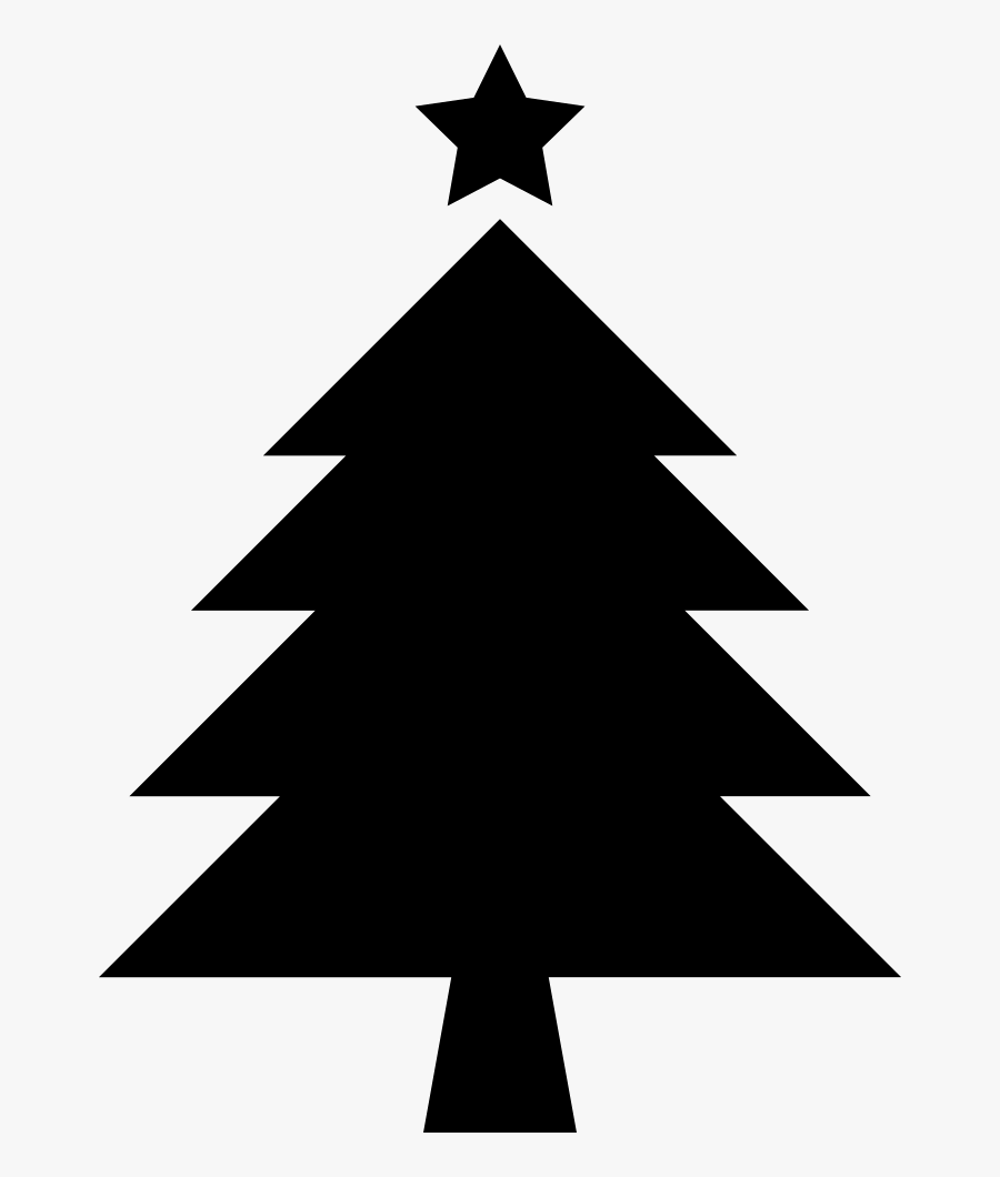 Christmas Tree With Star - Silhouette Christmas Tree Clipart, Transparent Clipart