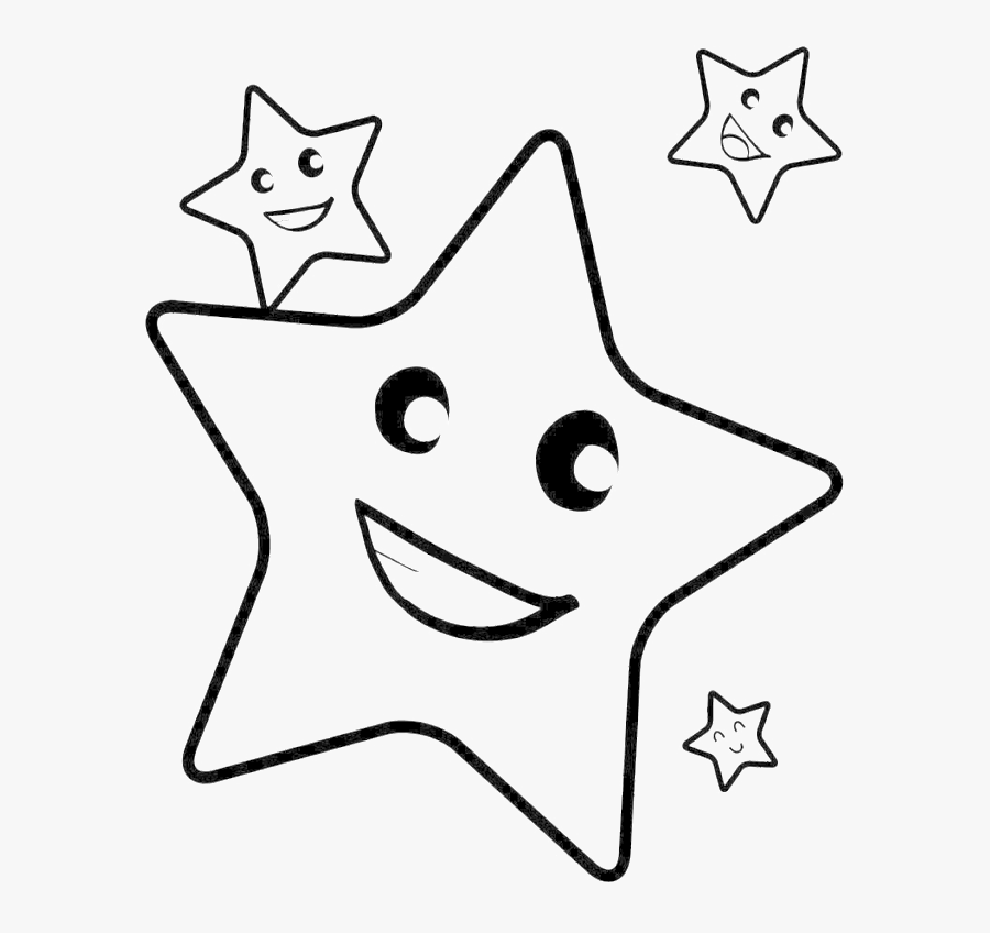 Smile Christmas Star Coloring Pages - Star Coloring Pages For Kids, Transparent Clipart