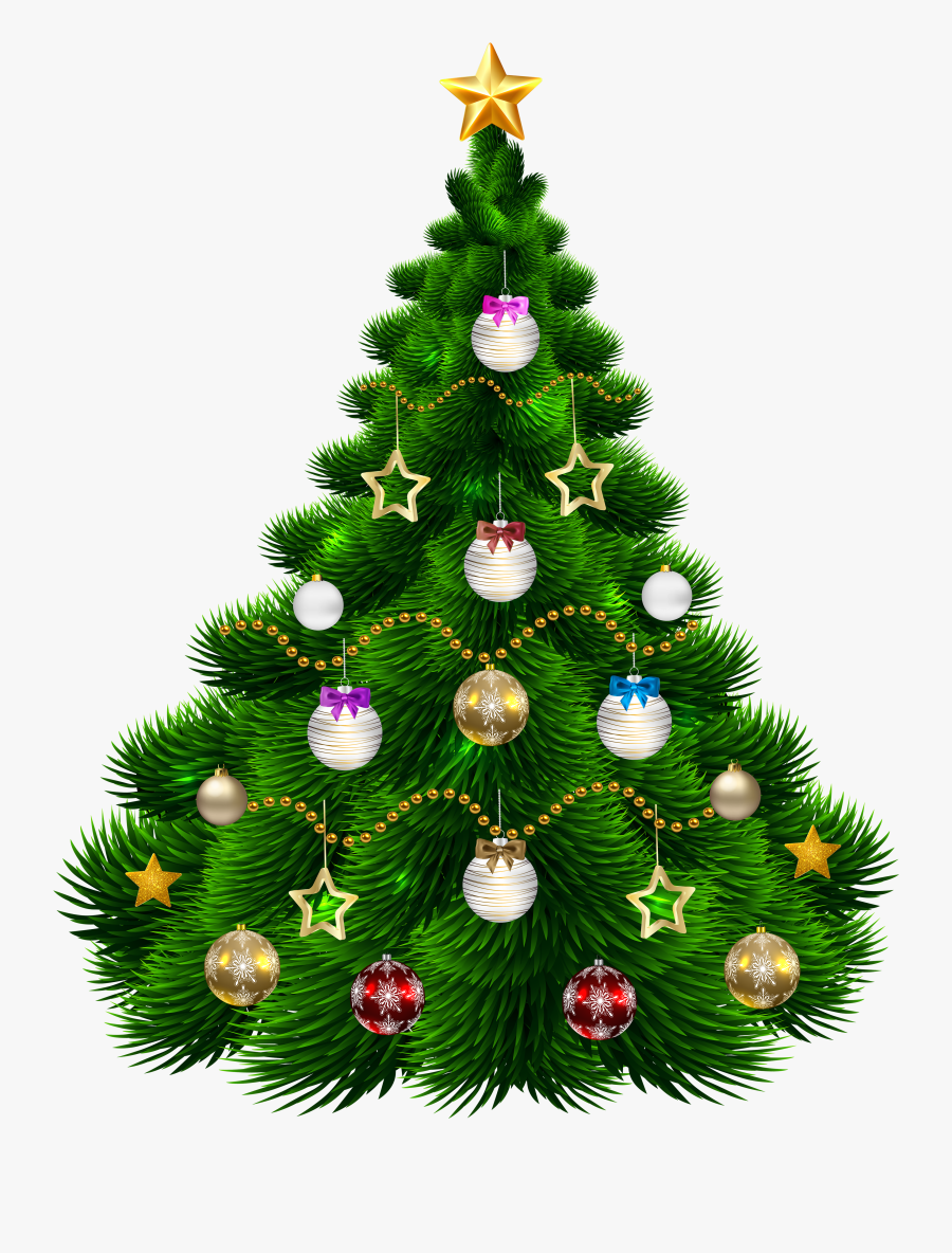 Beautiful Christmas Tree With Ornaments Png Clip-art - Png Images Of Christmas Tree, Transparent Clipart