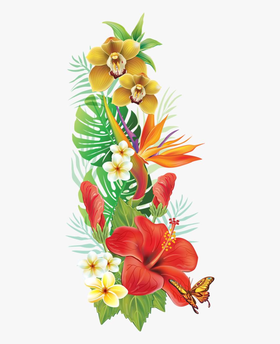 Flower,hawaiian Art,flowering Family,graphics - Hawaiian Tropical Flowers Png, Transparent Clipart