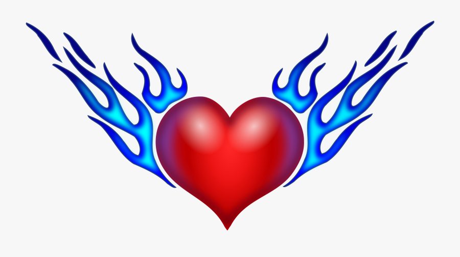 Heart On Fire Drawing At Getdrawings - Fire Hearts With Wings, Transparent Clipart