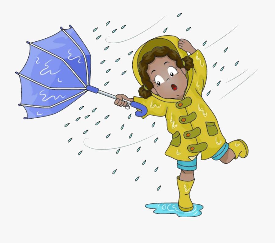 Rain Images Cartoon - Umbrella Flying Away Clipart, Transparent Clipart