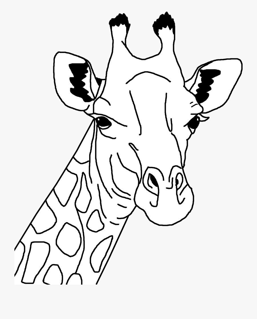 Clipart - Giraffe Head Clip Art Black And White, Transparent Clipart