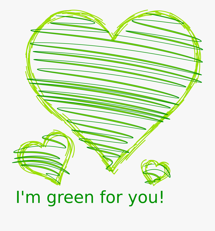 Green Heart Drawing Png, Transparent Clipart