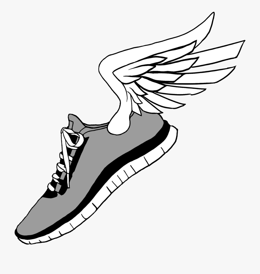 Running Shoes Clip Art , Shoes With Wings Drawing , Free