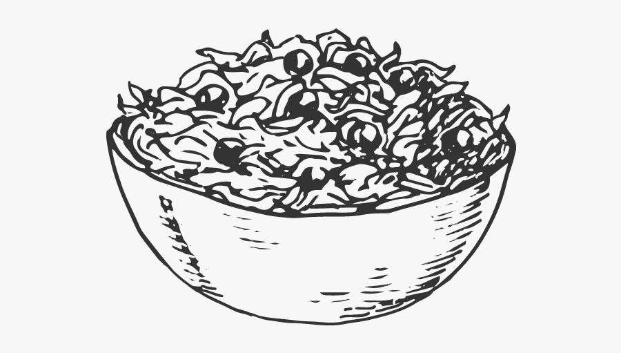 Clip Art Lettuce Drawing - Bowl Of Salad Line Drawing, Transparent Clipart